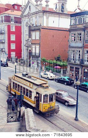 Retro Tram In Porto, Portugal.