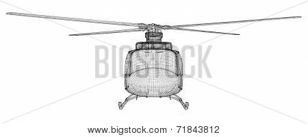 Military Sealift helicopter,  body structure , wire model poster