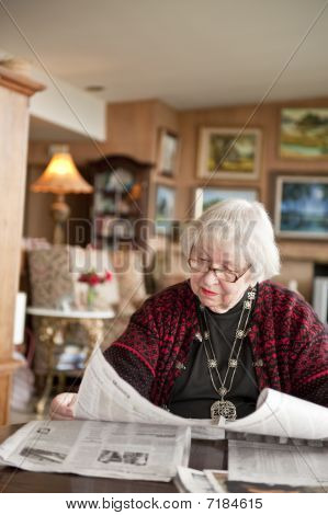 87 Year Old Woman reading at home