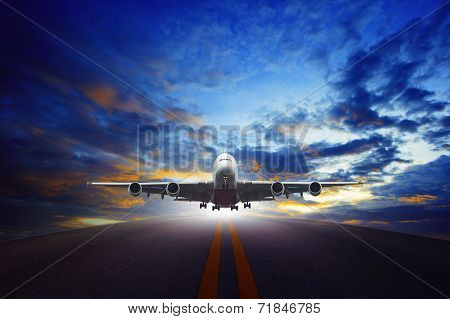 Jet Plane Take Off From Urban Airport Runways Use For Air Transportation And Business Cargo Logistic