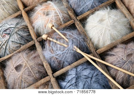 Image of colorful wool and mohair yarn and needles. poster
