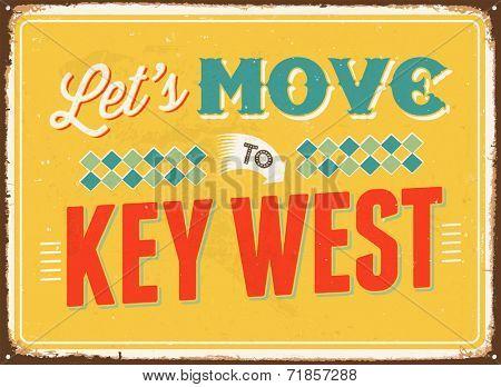Vintage metal sign - Let's move to Key West - JPG Version