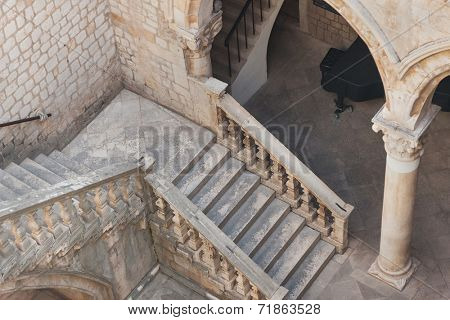 DUBROVNIK, CROATIA - MAY 26, 2014: Atrium of the Rector's palace in Dubrovnik, Croatia. The Rector's Palace was the administrative centre of the Dubrovnik Republic.