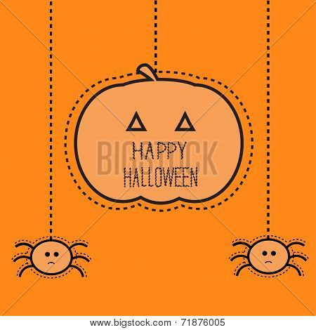 Halloween card with hanging pumpkin and two spiders. Dash line. Flat design.