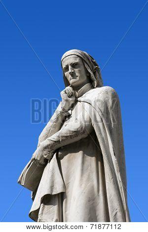 Statue of Dante Alighieri (1265-1321) father of the Italian language in Piazza dei Signori in Verona (UNESCO world heritage site) Veneto Italy poster