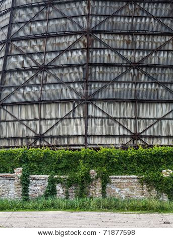 The Wall Of The Old Cooling Tower Of The Cogeneration Plant