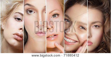 Beauty Collage. Set Of Women's Faces With Different Make Up