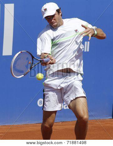 BARCELONA - APRIL, 24: Russian tennis player Teymuraz Gabashvili in action during a match of Barcelona tennis tournament Conde de Godo on April 24, 2014 in Barcelona