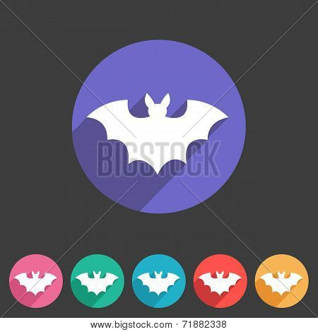 Bat flat halloween icon badge