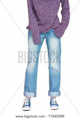 Straight Wide Leg Jeans And Baggy Sweater