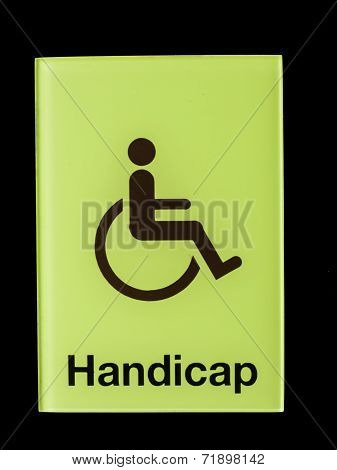 Green Glass Handicap Sign Isolated On Black Background