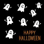 Many spook ghosts. Happy Halloween card. Flat design. Vector illustration poster