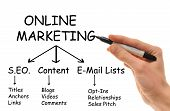 A white Caucasian hand holds a marker in hand writing down the various strategies of Online Internet Marketing. poster