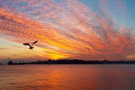 Dramatic sunset at Istanbul