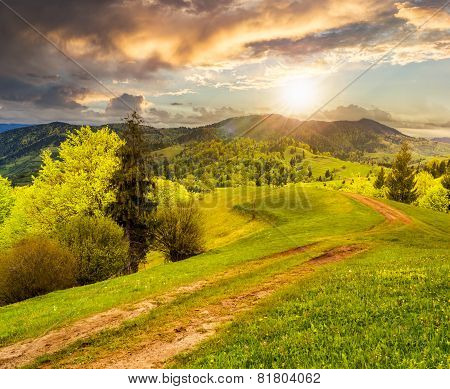 Road On Hillside Meadow In Mountain At Sunset
