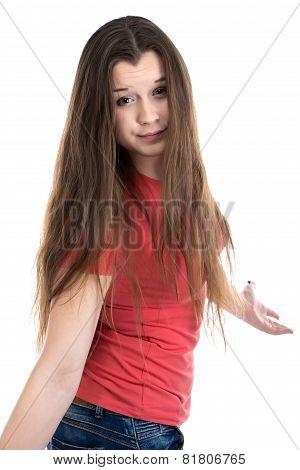 Photo of cute confused teenage girl
