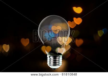 Light Bulb With Heart Shape Bokeh Background