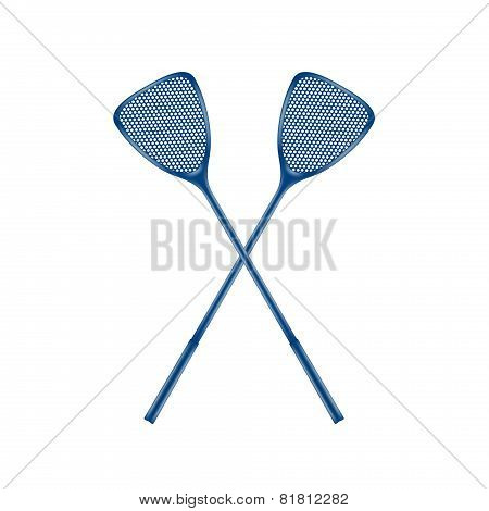 Two crossed fly swatters in blue design