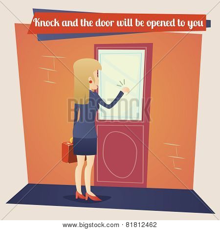 Business Concept Template Businesswoman with Briefcase Knocking at Customer Door on Stylish Backgrou