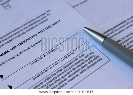 legal law concept - legal documents and pen documents ready to be signed poster