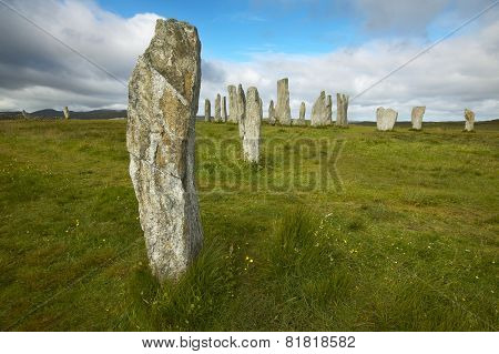 Prehistoric site with menhirs in Scotland. Callanish. Lewis isle. Horizontal poster