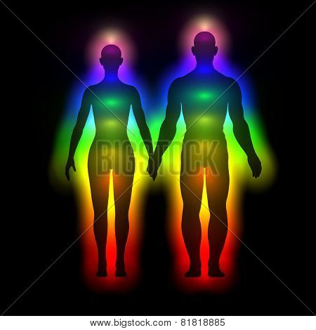 Rainbow silhouette of human body with aura - woman and man