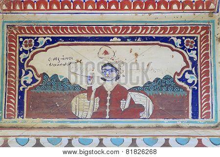 Exterior wall paining detail of the haveli, Mandawa, India.