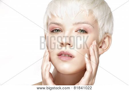 Beauty Model Blonde Short Hair Showing Perfect Skin
