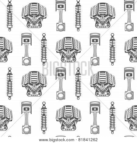 Vector Seamless Pattern Of Car Parts