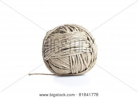 Ball Of String, Isolated On White.