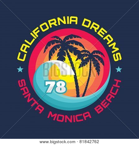 California - Santa Monica beach - vector illustration concept in vintage graphic style for t-shirt