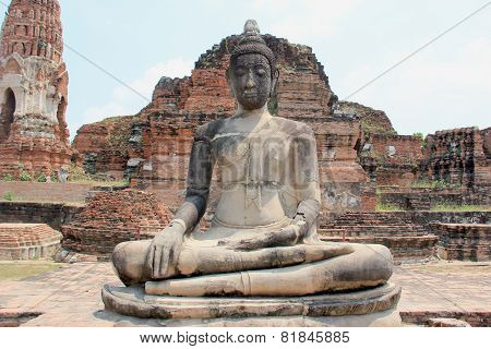 Ancient Stone Buddha At Wat Mahathat Temple