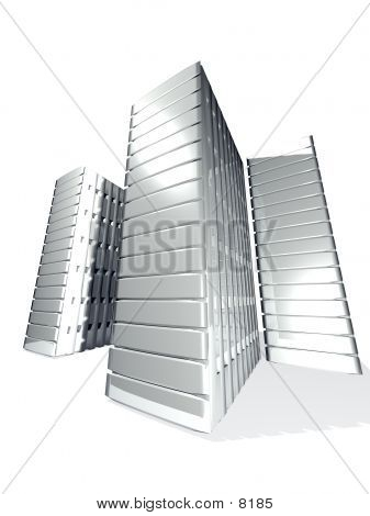 Tree 3d Server Towers From White Metal