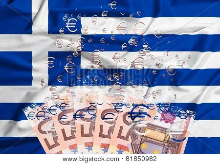 50 Euro Banknote Dissolving As A Concept Of Economic Crisis In Greece