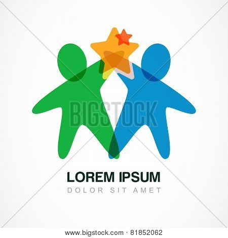 Vector Logo Design Template. Colorful Abstract Happy People With Star. Concept For Social Network, T