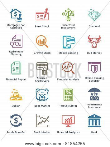 Personal & Business Finance Icons Set 1 - Colored Series