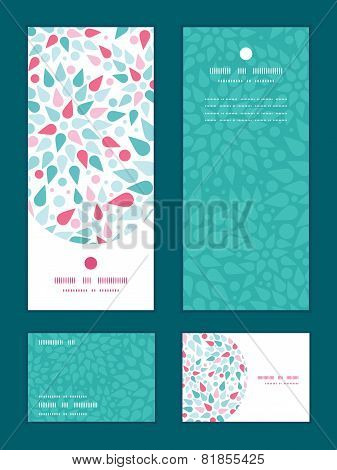 Vector abstract colorful drops vertical frame pattern invitation greeting, RSVP and thank you cards