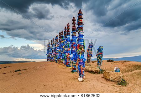 Pagan Holy Buryat Totems / Poles at Lake Baikal