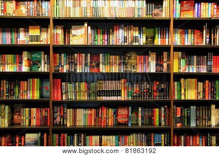 Books On Wooden Bookcases