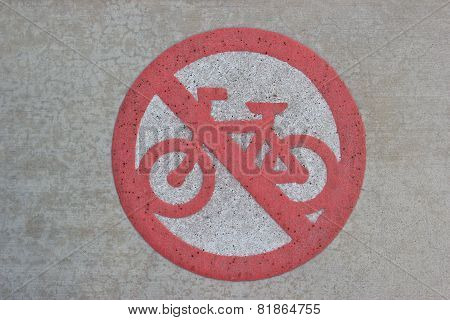 Street Sign for Cycling Prohibition on Pathway poster