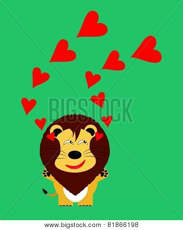 Tricky Lion Gartoon Character With Red Heart