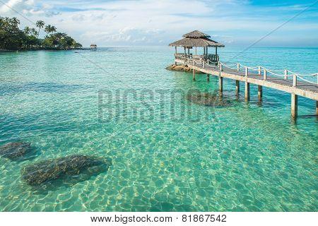 Tropical Hut And Wooden Bridge At Holiday Resort. Summer Travel In Phuket ,thailand.