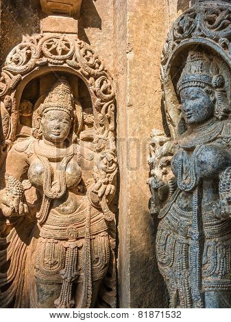 Carvings of goddesses at the 13th Century temple of Somanathapur, South India. poster