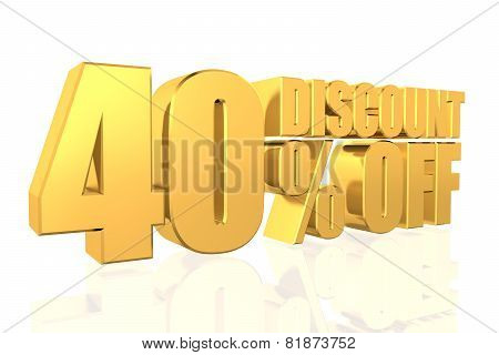 Discount 40 Percent Off. 3D Illustration.