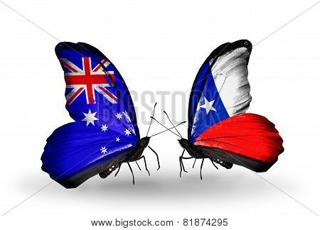 Two Butterflies With Flags On Wings As Symbol Of Relations Australia And Chile