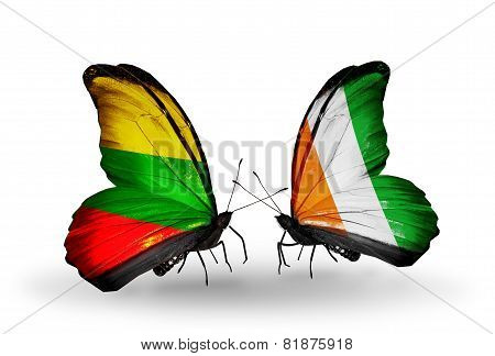 Two Butterflies With Flags On Wings As Symbol Of Relations Lithuania And Cote Divoire