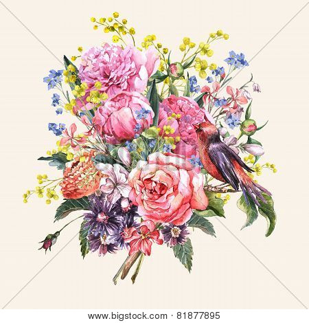 Spring Watercolor Floral Bouquet with Bird