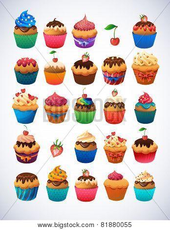 Super cupcake pack. Chocolate and vanilla icing cupcakes.Strawberry, cherry, cream