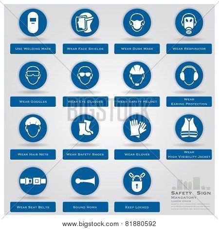 Mandatory Safety And Warning Sign Icons Set
