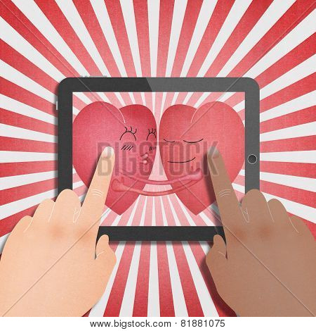 Tablet With Two Red Heart Romantic